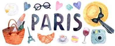 Набор Парижа акварели, элементы руки вычерченные иллюстрация вектора