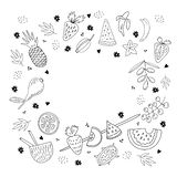Набор плодов и ягод руки вычерченный иллюстрация штока