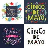НАБОР поздравительной открытки Cinco de mayo Помечать буквами текст с элементами цветков Цитата оформления для приглашения, плака иллюстрация штока
