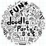 Набор предпосылки руки вычерченный милого текста eith пузыря речи в стиле doodle иллюстрация вектора