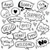 Набор предпосылки руки вычерченный милого текста eith пузыря речи в стиле doodle бесплатная иллюстрация