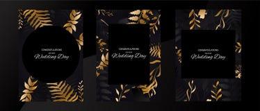Набор предпосылки черноты рамки свадьбы с листовым золотом Золотой флористический дизайн Геометрическая рамка иллюстрация вектора