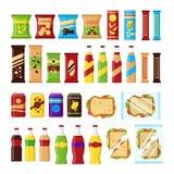 Набор продуктов закуски для торгового автомата Закуски фаст-фуда, пить, гайки, обломоки, шутиха, сок, сандвич для поставщика бесплатная иллюстрация