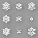 Набор различного бумажного отрезка снежинки 9 от бумаги изолированной на прозрачной предпосылке С Рождеством Христовым, Новый Год иллюстрация штока
