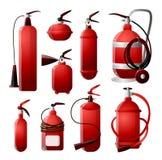 Набор разных видов огнетушителей в красных и различных формах Пожарная безопасность иллюстрация вектора