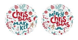 Набор рождественской ярмарки и веселого рождества иллюстрация штока