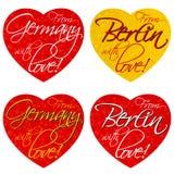 Набор сердец для сувениров на теме Германии, Берлина в национальных цветах вектор стоковые фотографии rf