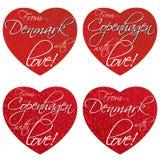 Набор сердец для сувениров на теме Дании, Копенгагене в национальных цветах вектор стоковое изображение