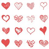 Набор сердца doodle вектора красный бесплатная иллюстрация
