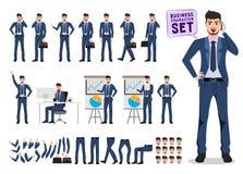 Набор символов вектора бизнесмена Мужские мобильный телефон и говорить удерживания работника офиса иллюстрация штока