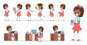 Набор символов ребенк школы для анимации иллюстрация штока