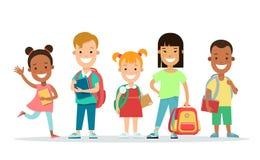 Набор символов счастливых детей плоский Ягнит edu Стоковое Фото