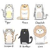 Набор символов тигра иллюстрация вектора