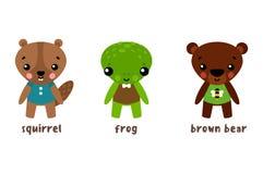 Набор символов животного шаржа Лягушка и медведь Стоковые Фотографии RF