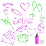 Набор символов на день любовников Стоковое Изображение RF