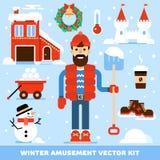Набор символов отдыха зимы Стоковые Фото