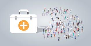 Набор скорых помощей медицины около работников занятия группы людей различных смешивает гонку работники толпятся концепция здраво бесплатная иллюстрация