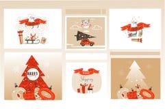 Набор собрания поздравительных открыток и предпосылок иллюстраций мультфильма времени веселого рождества потехи конспекта вектора бесплатная иллюстрация