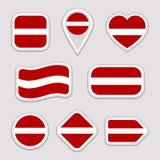 Набор стикеров флага Латвии Латышские значки национальных символов Изолированные геометрические значки Должностное лицо вектора с иллюстрация вектора