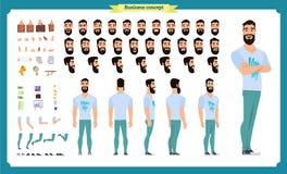 Набор творения битника Комплект плоских мужских частей тела персонажа из мультфильма, стилей причёсок, ультрамодная одежда, бесплатная иллюстрация