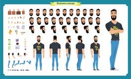 Набор творения битника Комплект плоских мужских частей тела персонажа из мультфильма, стилей причёсок, ультрамодная одежда, иллюстрация штока