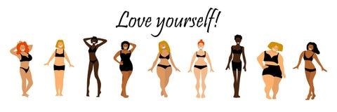 Набор тела положительный Текст влюбленности себя Multiracial женщины различных высоты, диаграммы типа и размера иллюстрация вектора