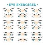 Набор тренировки глаза Собрание движения для глаз бесплатная иллюстрация