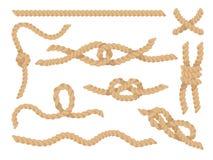 Набор узлов веревочки, джут или иллюстрация вектора скрученных шнуров пеньки иллюстрация вектора