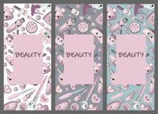 Набор упаковывая шаблонов с текстурой для косметических продуктов Дизайн шаблона для летчика, крышки, летчика, открытки для гости иллюстрация вектора