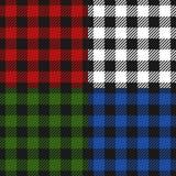 Набор фланели картины шотландки Lumberjack безшовный, чередуя предпосылка красочных квадратов checkered Шотландская клетка вектор бесплатная иллюстрация