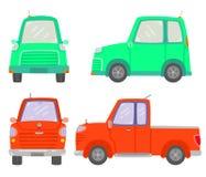 Набор фронта 2 автомобилей и взгляда со стороны, мини автомобиля, комплектует вверх автомобиль, автомобиль Eco, изолированный на  бесплатная иллюстрация