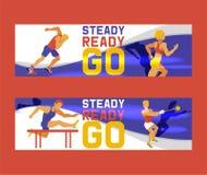 Набор человека спортсмена иллюстрации вектора знамен Тренировка гимнастики Работать мужчины в различных представлениях Диаграммы  бесплатная иллюстрация
