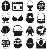 набор 16 черно-белый элементов пасхи бесплатная иллюстрация