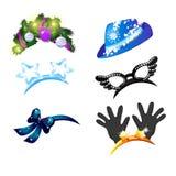 Набор шляпы и держателей с безделушками в стиле рождества и Нового Года изолированных на белой предпосылке воцарения иллюстрация вектора