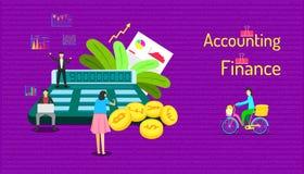 Набор элемента бухгалтерии и финансов работая клиент человек на велосипеде держа много деньги для того чтобы обслуживать команду  иллюстрация вектора