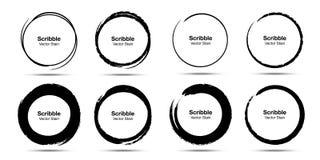 Набор эскиза круга руки вычерченный Круги круга scribble doodle Grunge для метки примечания сообщения Мазки щетки круговые вектор иллюстрация вектора