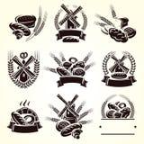 Набор ярлыков хлеба вектор бесплатная иллюстрация