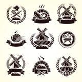 Набор ярлыков хлеба Хлеб значка собрания вектор иллюстрация штока