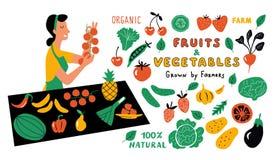 Набор doodle фруктов и овощей смешной Милая женщина мультфильма, продавец продовольственного рынка с сельскохозяйственными продук иллюстрация вектора