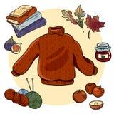 Набор doodles осени уютный Милые стикеры hygge иллюстрация штока