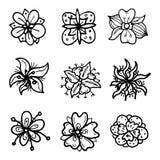 Набор doodles цветков руки вычерченный Значки стиля эскиза Элемент украшения белизна изолированная предпосылкой Плоский дизайн ве иллюстрация штока