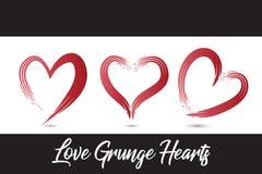 Набор grunge любов изображения вектора логотипа сердец стоковые фотографии rf
