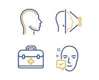 Набор id скорой помощи, стороны и главных значков Знак принятый стороной Случай медицины, сканирование телефона, человеческий про иллюстрация штока