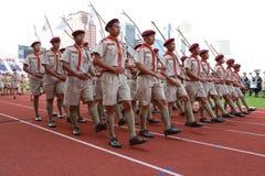 Наблюдает ежегодный парад национального праздника Стоковые Фото