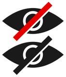 Наблюдайте знак, символ с линией strikethrough - наденьте взгляд ` t, вредный t Стоковые Изображения RF