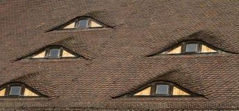 Наблюдайте форменные окна na górze старой коричневой крыши Стоковая Фотография RF