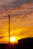 Наблюдательная вышка на заходе солнца Стоковое фото RF