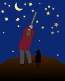 Наблюдатель звезды иллюстрация штока