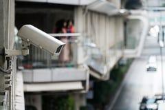 Наблюдение камеры CCTV на большом городе Стоковое Изображение