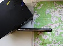 Навигатор автомобиля маршрута Установленный внутри автомобиля, деталей и конца-вверх стоковые фото